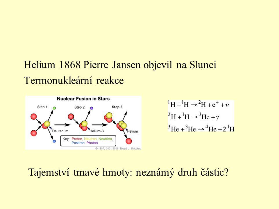 Helium 1868 Pierre Jansen objevil na Slunci Termonukleární reakce Tajemství tmavé hmoty: neznámý druh částic?