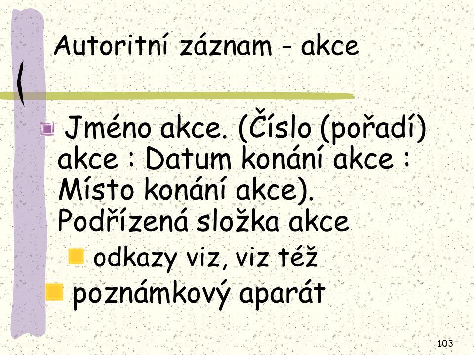 103 Autoritní záznam - akce Jméno akce.
