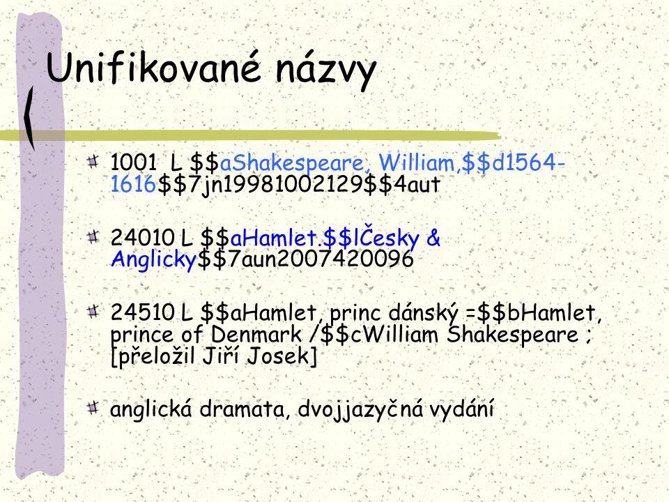 Unifikované názvy 1001 L $$aShakespeare, William,$$d1564- 1616$$7jn19981002129$$4aut 24010 L $$aHamlet.$$lČesky & Anglicky$$7aun2007420096 24510 L $$aHamlet, princ dánský =$$bHamlet, prince of Denmark /$$cWilliam Shakespeare ; [přeložil Jiří Josek] anglická dramata, dvojjazyčná vydání