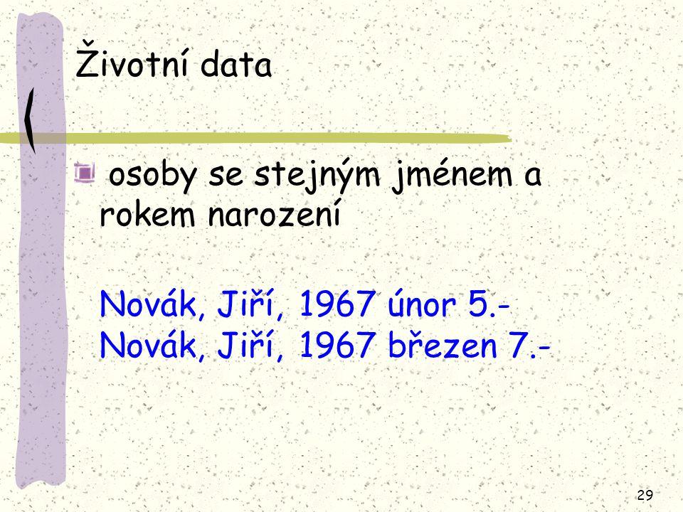29 Životní data osoby se stejným jménem a rokem narození Novák, Jiří, 1967 únor 5.- Novák, Jiří, 1967 březen 7.-