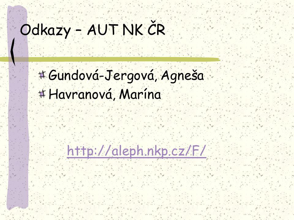 Odkazy – AUT NK ČR Gundová-Jergová, Agneša Havranová, Marína http://aleph.nkp.cz/F/