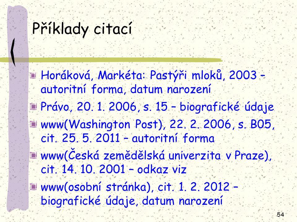 54 Příklady citací Horáková, Markéta: Pastýři mloků, 2003 – autoritní forma, datum narození Právo, 20.