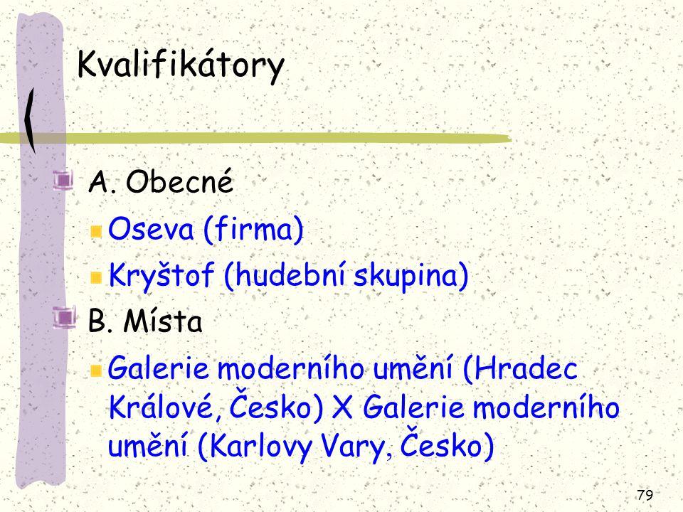 79 Kvalifikátory A.Obecné Oseva (firma) Kryštof (hudební skupina) B.