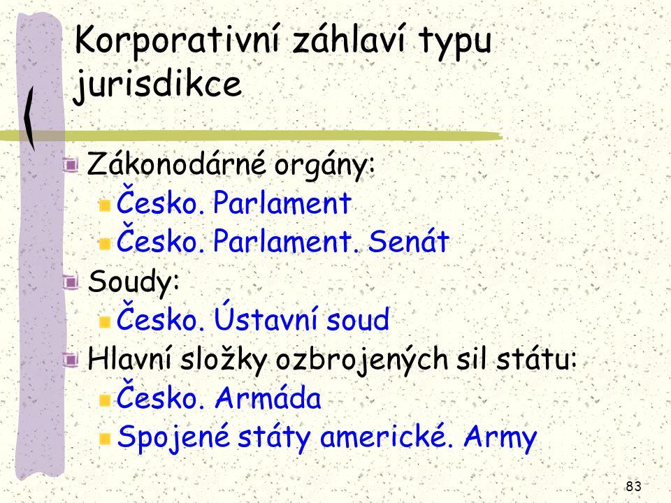 83 Korporativní záhlaví typu jurisdikce Zákonodárné orgány: Česko.