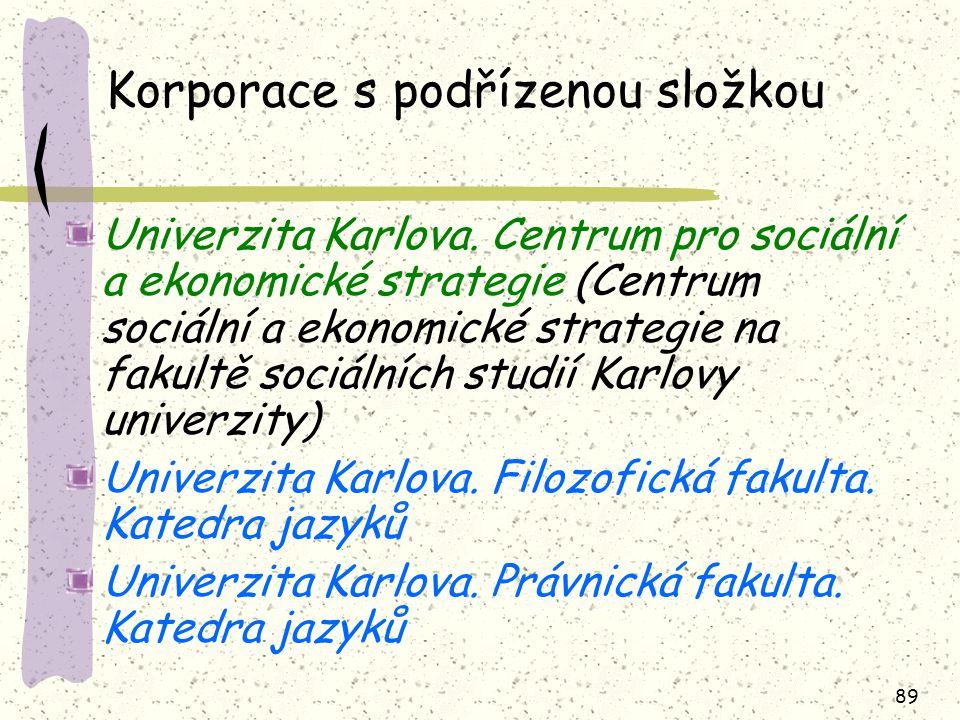 89 Korporace s podřízenou složkou Univerzita Karlova.