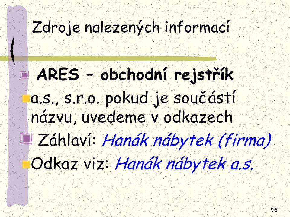 96 Zdroje nalezených informací ARES – obchodní rejstřík a.s., s.r.o.