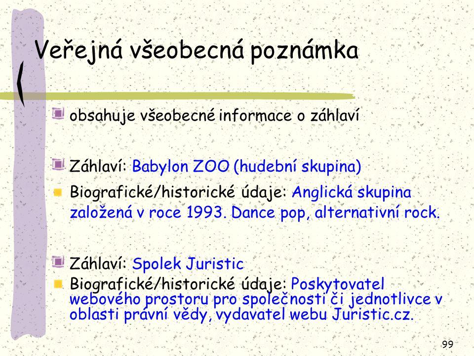 99 Veřejná všeobecná poznámka obsahuje všeobecné informace o záhlaví Záhlaví: Babylon ZOO (hudební skupina) Biografické/historické údaje: Anglická skupina založená v roce 1993.