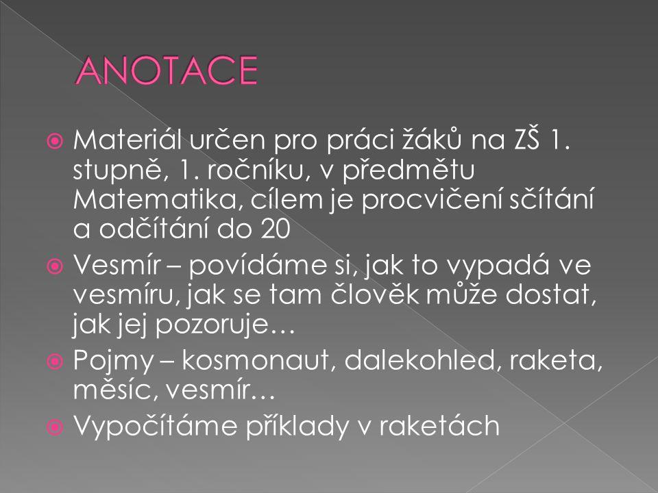  Materiál určen pro práci žáků na ZŠ 1. stupně, 1.