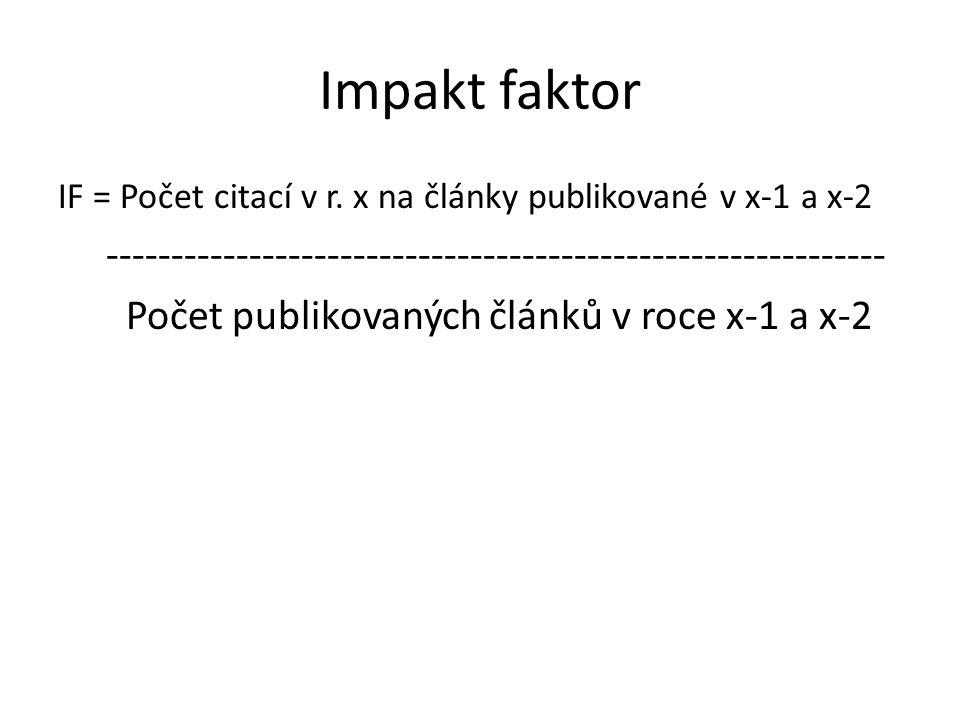Impakt faktor IF = Počet citací v r.