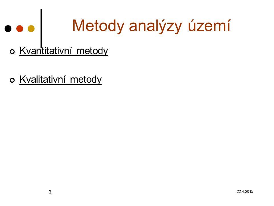 22.4.2015 3 Metody analýzy území Kvantitativní metody Kvalitativní metody