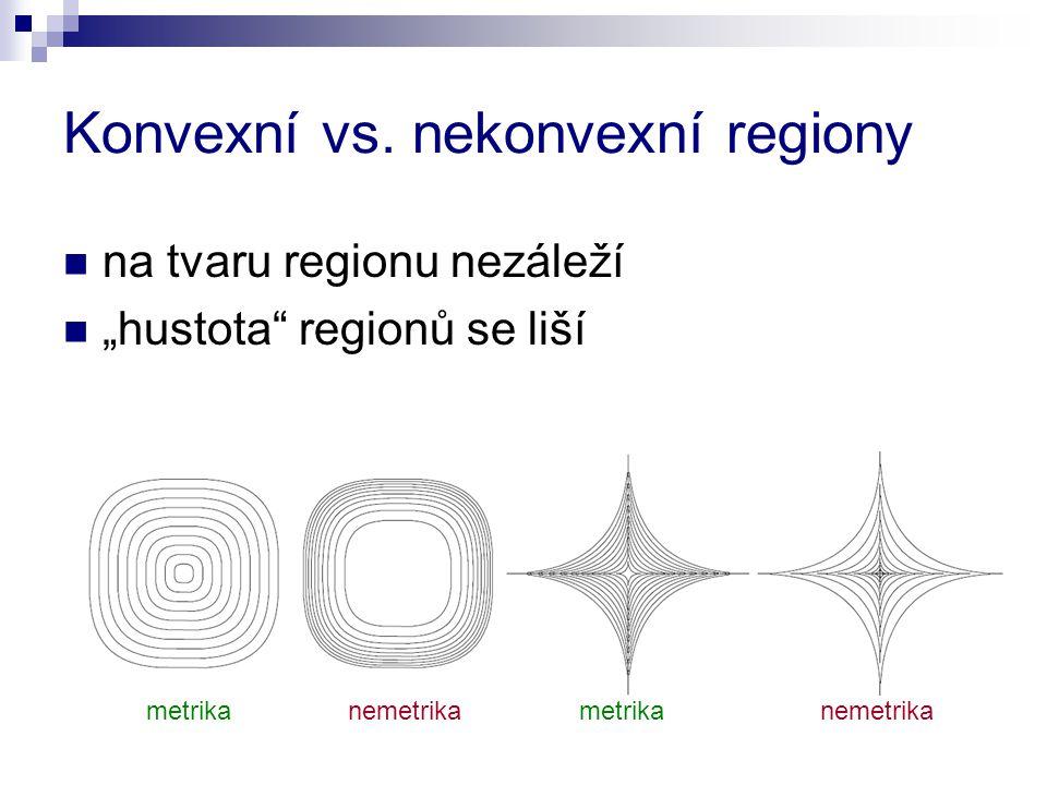 """Konvexní vs. nekonvexní regiony na tvaru regionu nezáleží """"hustota"""" regionů se liší metrika nemetrika metrika nemetrika"""