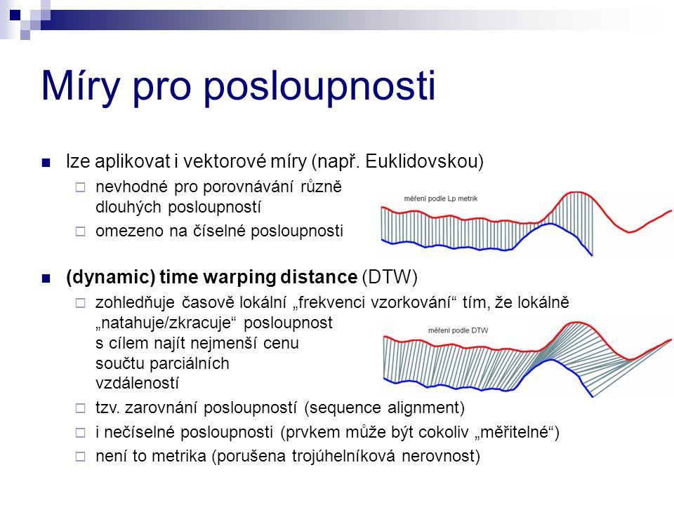 Míry pro posloupnosti lze aplikovat i vektorové míry (např. Euklidovskou)  nevhodné pro porovnávání různě dlouhých posloupností  omezeno na číselné