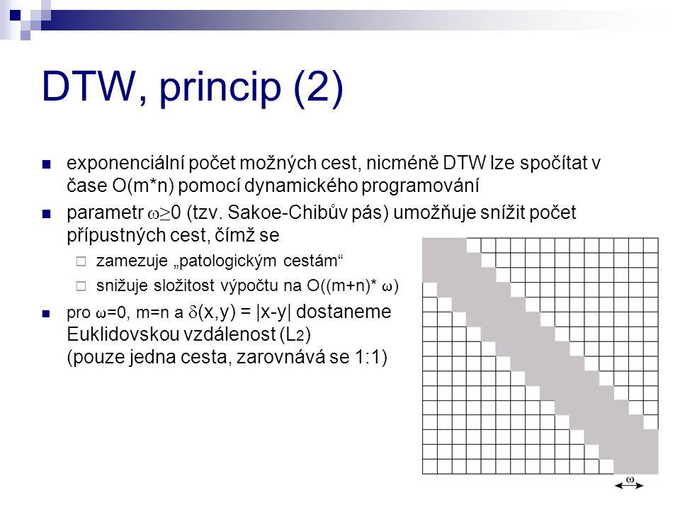DTW, princip (2) exponenciální počet možných cest, nicméně DTW lze spočítat v čase O(m*n) pomocí dynamického programování parametr  ≥ 0 (tzv. Sakoe-C