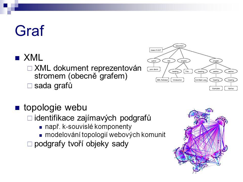 Graf XML  XML dokument reprezentován stromem (obecně grafem)  sada grafů topologie webu  identifikace zajímavých podgrafů např. k-souvislé komponen