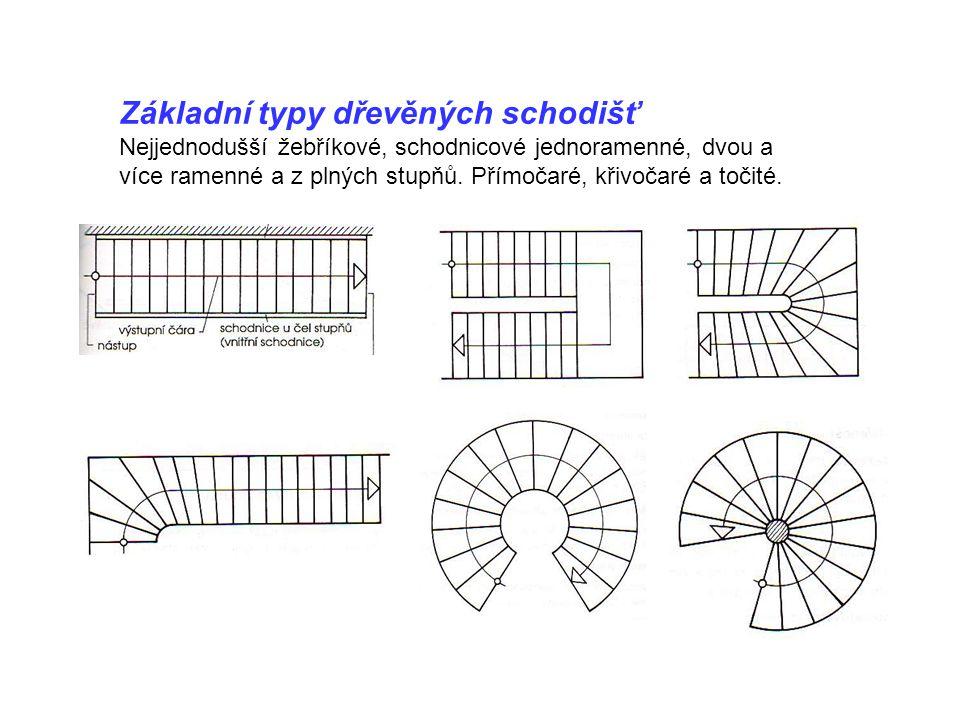 Základní typy dřevěných schodišť Nejjednodušší žebříkové, schodnicové jednoramenné, dvou a více ramenné a z plných stupňů. Přímočaré, křivočaré a toči