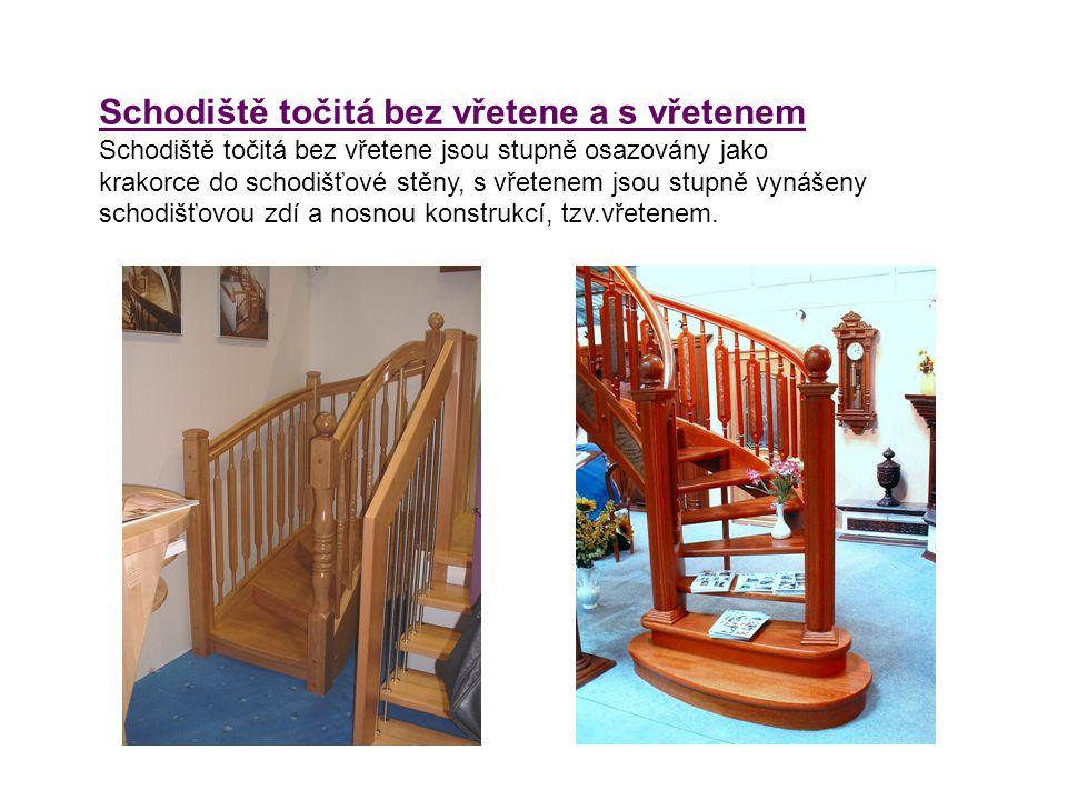 Schodiště točitá bez vřetene a s vřetenem Schodiště točitá bez vřetene jsou stupně osazovány jako krakorce do schodišťové stěny, s vřetenem jsou stupn