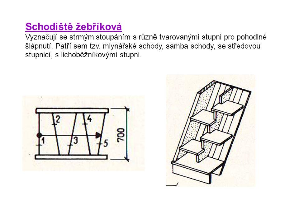Schodiště žebříková Vyznačují se strmým stoupáním s různě tvarovanými stupni pro pohodlné šlápnutí. Patří sem tzv. mlynářské schody, samba schody, se
