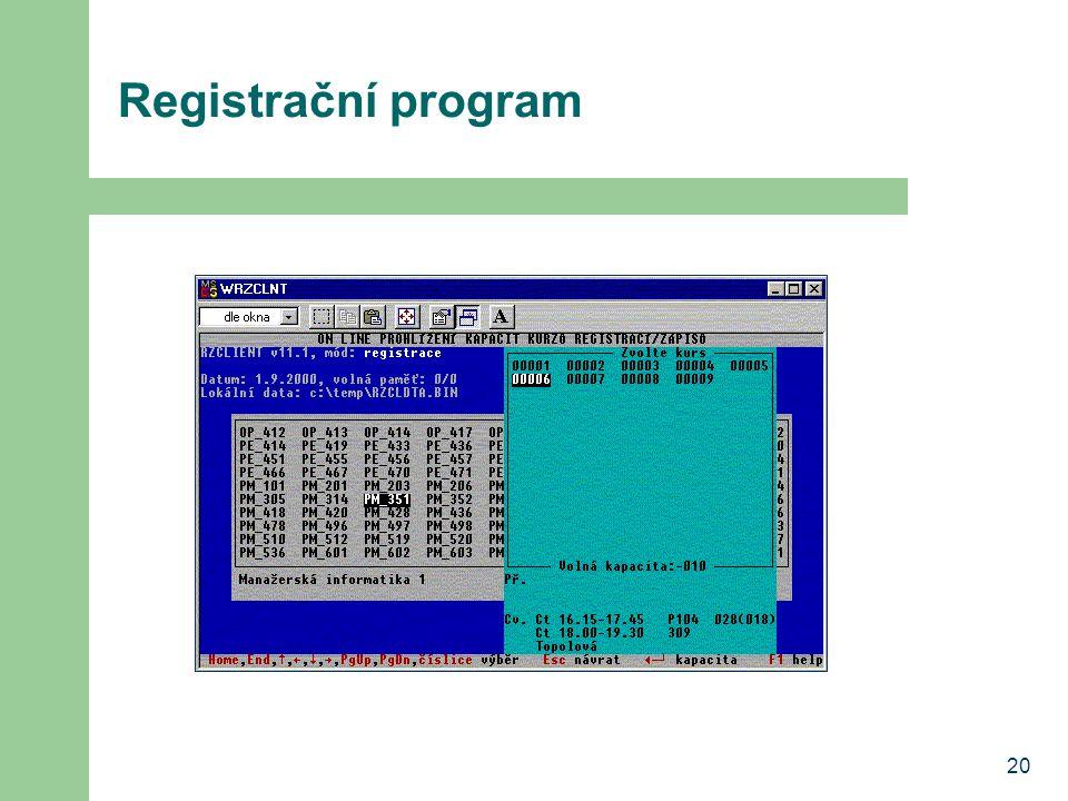 20 Registrační program