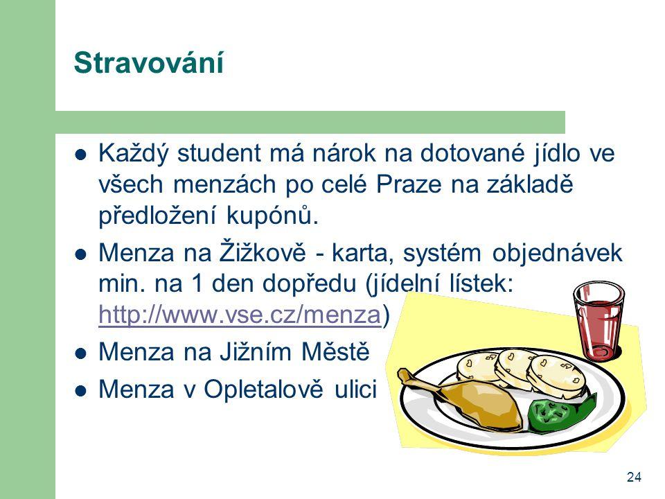 24 Stravování Každý student má nárok na dotované jídlo ve všech menzách po celé Praze na základě předložení kupónů. Menza na Žižkově - karta, systém o