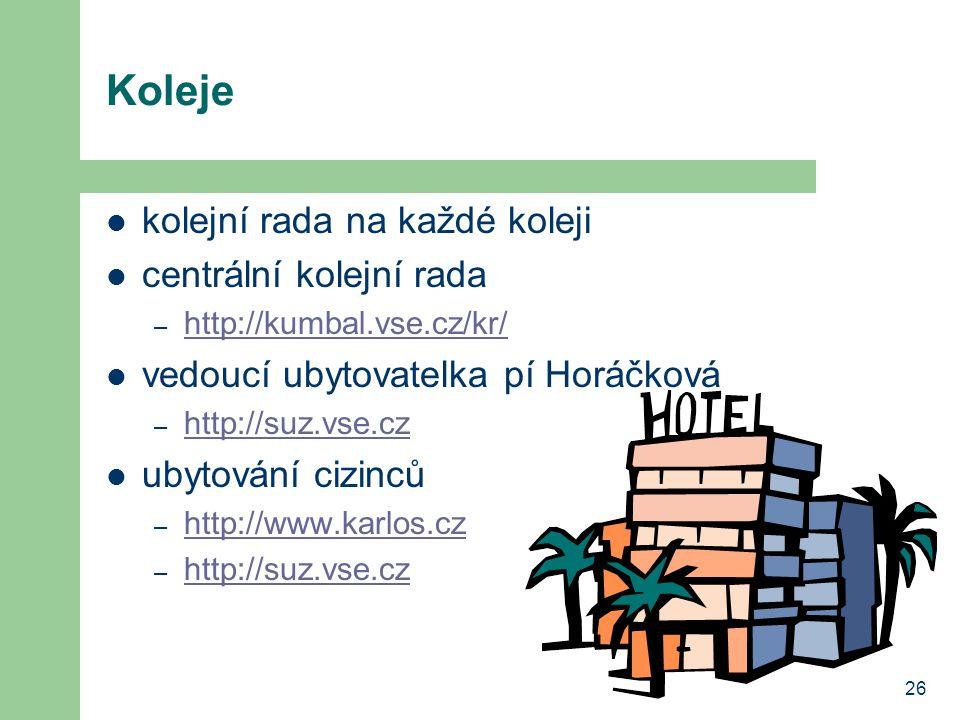 26 Koleje kolejní rada na každé koleji centrální kolejní rada – http://kumbal.vse.cz/kr/ http://kumbal.vse.cz/kr/ vedoucí ubytovatelka pí Horáčková – http://suz.vse.cz http://suz.vse.cz ubytování cizinců – http://www.karlos.cz http://www.karlos.cz – http://suz.vse.cz http://suz.vse.cz