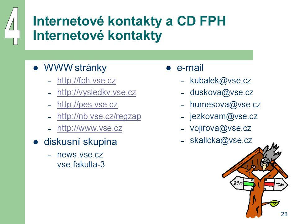28 Internetové kontakty a CD FPH Internetové kontakty WWW stránky – http://fph.vse.cz http://fph.vse.cz – http://vysledky.vse.cz http://vysledky.vse.c