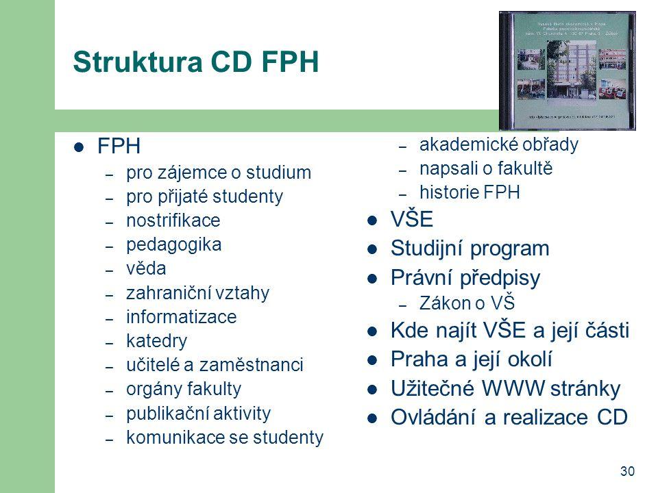 30 Struktura CD FPH FPH – pro zájemce o studium – pro přijaté studenty – nostrifikace – pedagogika – věda – zahraniční vztahy – informatizace – katedr