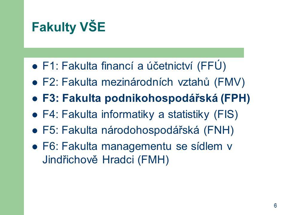 6 Fakulty VŠE F1: Fakulta financí a účetnictví (FFÚ) F2: Fakulta mezinárodních vztahů (FMV) F3: Fakulta podnikohospodářská (FPH) F4: Fakulta informatiky a statistiky (FIS) F5: Fakulta národohospodářská (FNH) F6: Fakulta managementu se sídlem v Jindřichově Hradci (FMH)
