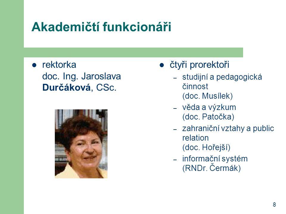 8 Akademičtí funkcionáři rektorka doc.Ing. Jaroslava Durčáková, CSc.