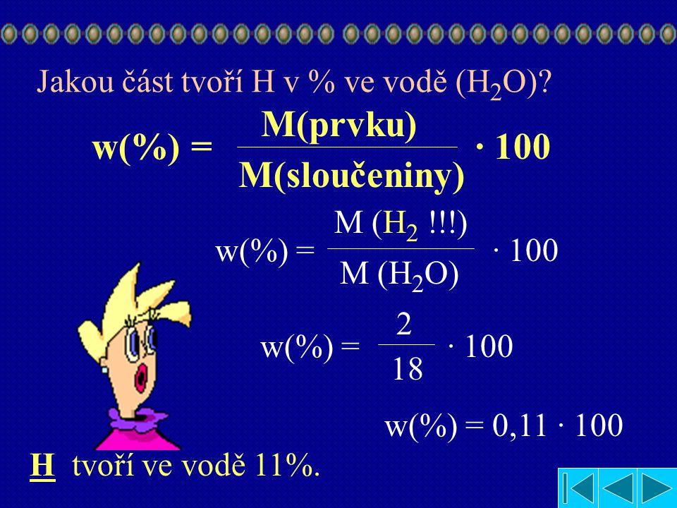 2.Příklad !!! Jaký hmotnostní zlomek v % má vodík ve vodě? Najít hmotnost vodíku (H) v tabulce hmotnost vodíku (H) je M (H) = 1 g/mol Najít hmotnost H