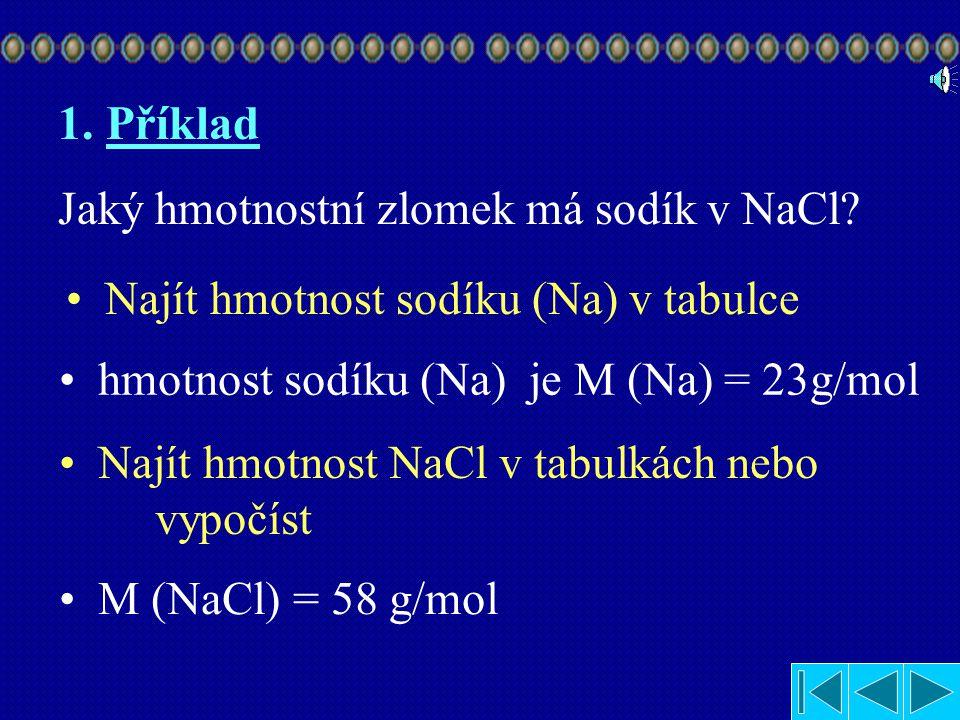 1.Příklad Jaký hmotnostní zlomek má sodík v NaCl.