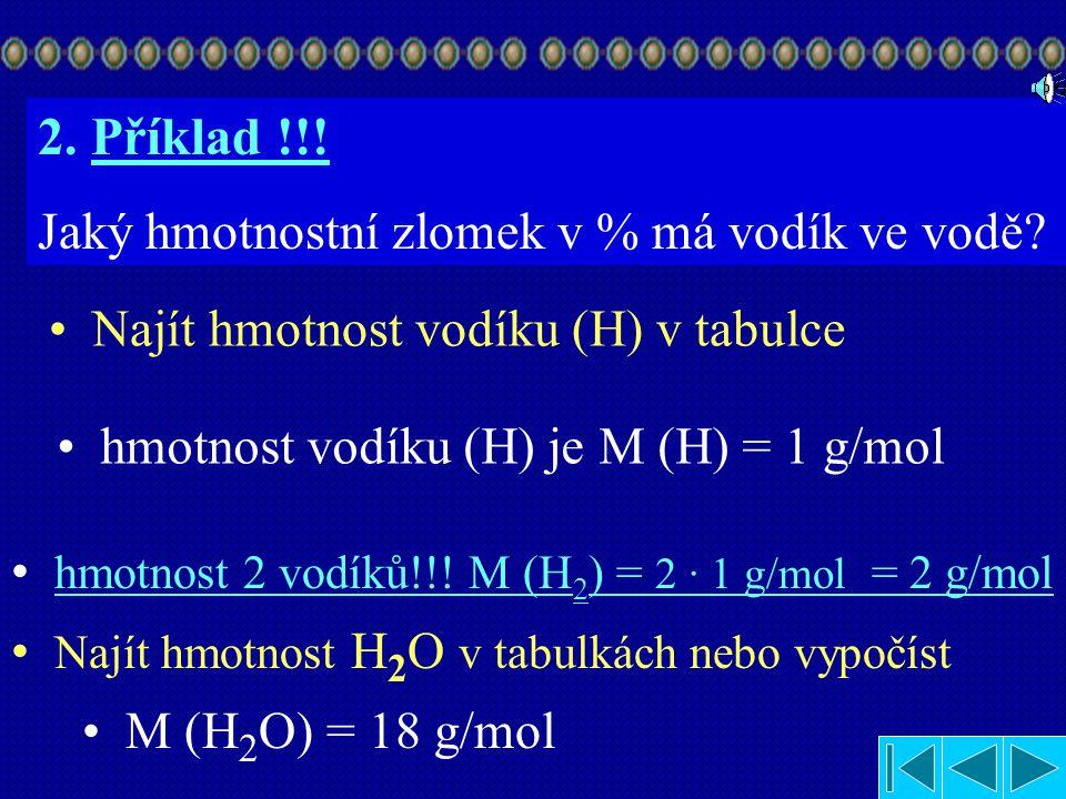 Jakou část tvoří Na v NaCl? M (prvku) w = w = w = 0,4 Hmotnostní zlomek Na v soli je 0,4. M (sloučeniny) w = M (Na) M (NaCl) 23 58