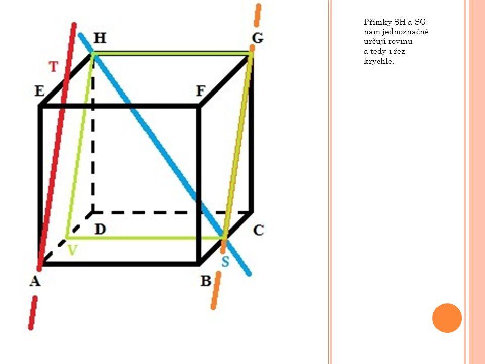 Přímky SH a SG nám jednoznačně určují rovinu a tedy i řez krychle.