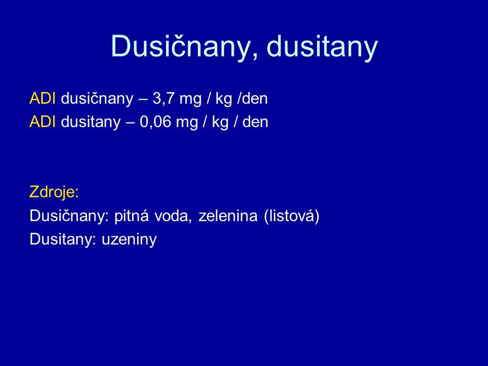 Dusičnany, dusitany ADI dusičnany – 3,7 mg / kg /den ADI dusitany – 0,06 mg / kg / den Zdroje: Dusičnany: pitná voda, zelenina (listová) Dusitany: uze
