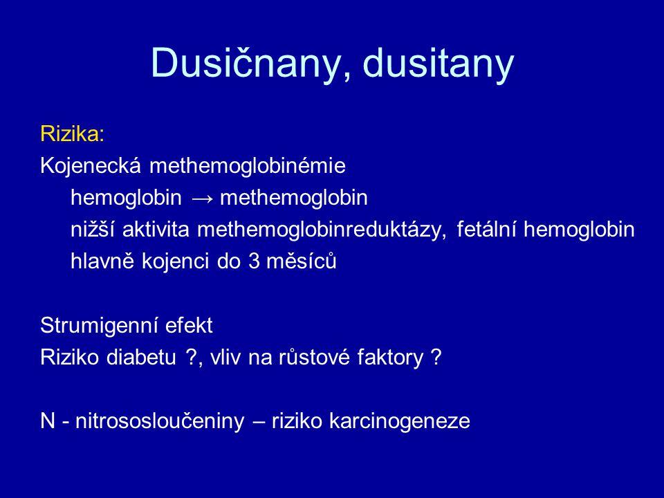 Dusičnany, dusitany Rizika: Kojenecká methemoglobinémie hemoglobin → methemoglobin nižší aktivita methemoglobinreduktázy, fetální hemoglobin hlavně ko