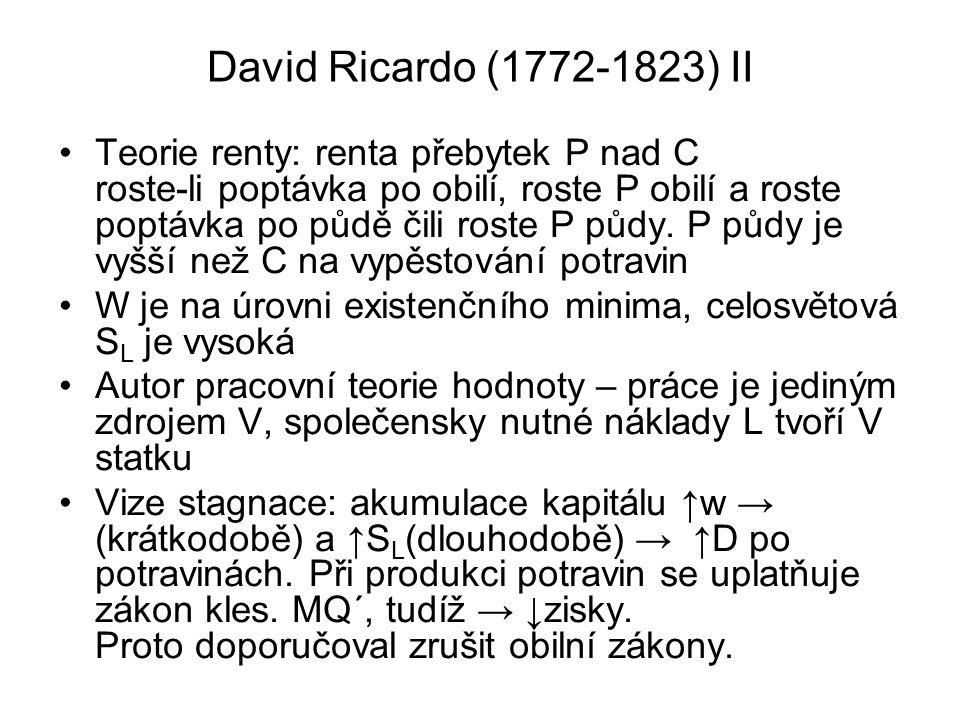 David Ricardo (1772-1823) II Teorie renty: renta přebytek P nad C roste-li poptávka po obilí, roste P obilí a roste poptávka po půdě čili roste P půdy