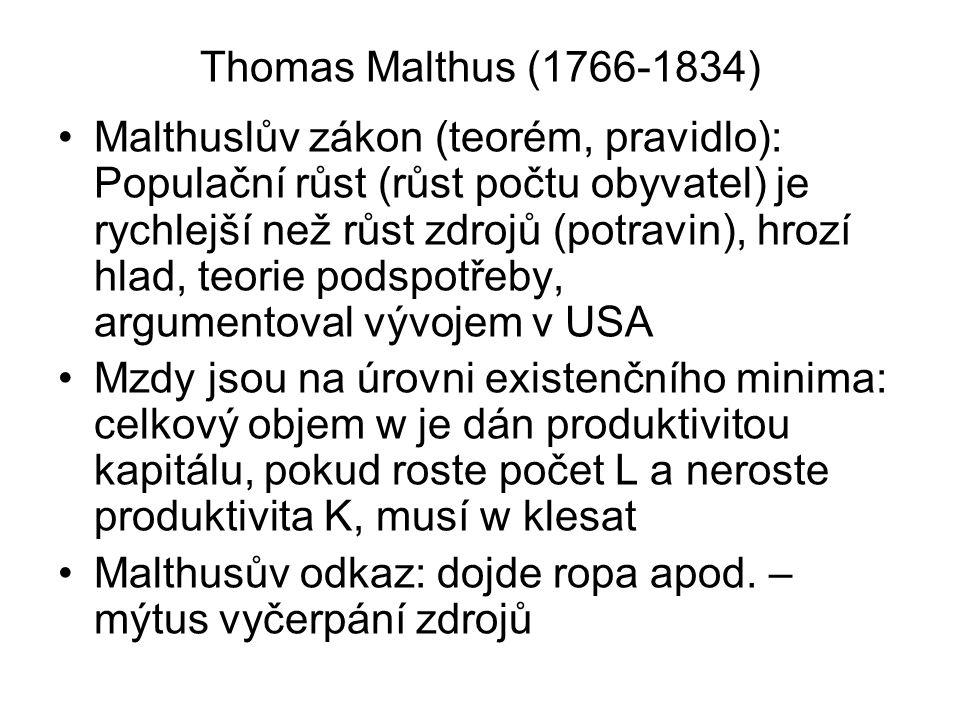 Thomas Malthus (1766-1834) Malthuslův zákon (teorém, pravidlo): Populační růst (růst počtu obyvatel) je rychlejší než růst zdrojů (potravin), hrozí hl