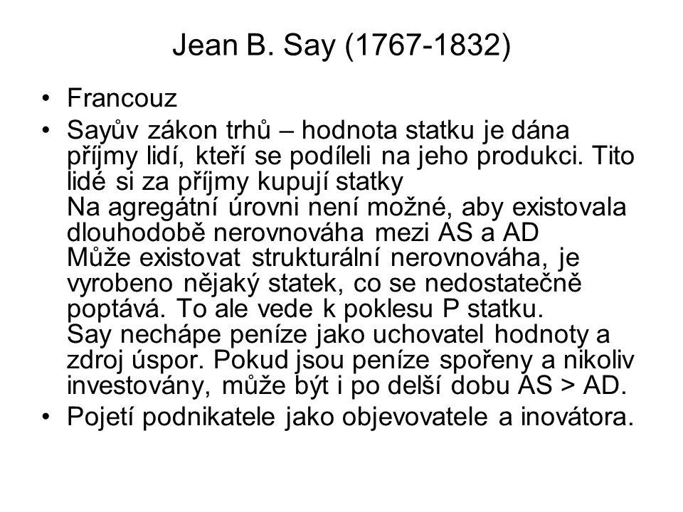 Jean B. Say (1767-1832) Francouz Sayův zákon trhů – hodnota statku je dána příjmy lidí, kteří se podíleli na jeho produkci. Tito lidé si za příjmy kup