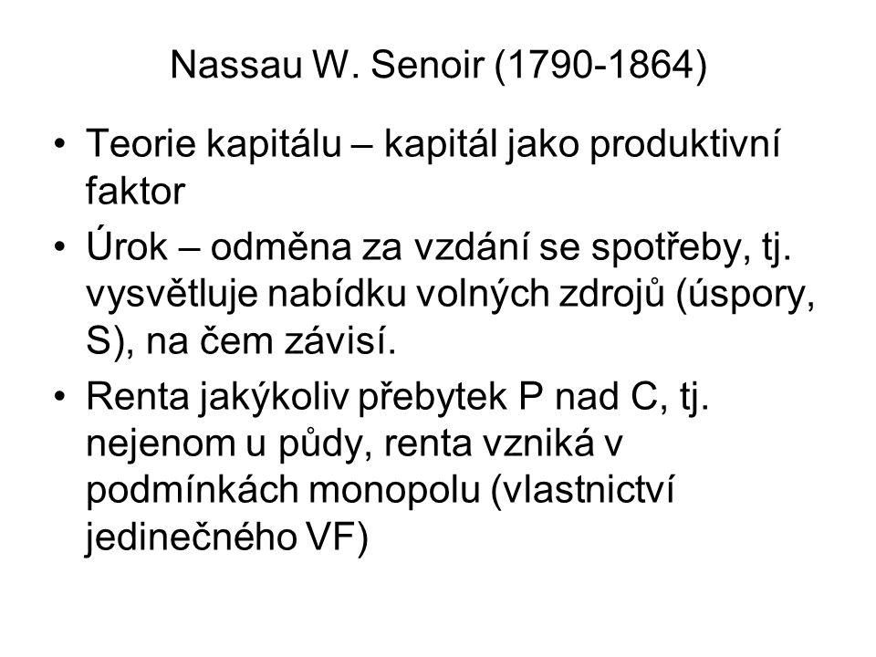 Nassau W. Senoir (1790-1864) Teorie kapitálu – kapitál jako produktivní faktor Úrok – odměna za vzdání se spotřeby, tj. vysvětluje nabídku volných zdr