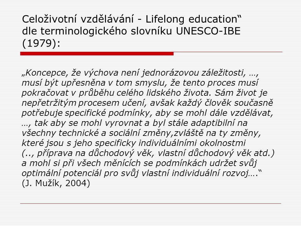 """Celoživotní vzdělávání - Lifelong education dle terminologického slovníku UNESCO-IBE (1979): """"Koncepce, že výchova není jednorázovou záležitosti, …, musí být upřesněna v tom smyslu, že tento proces musí pokračovat v průběhu celého lidského života."""