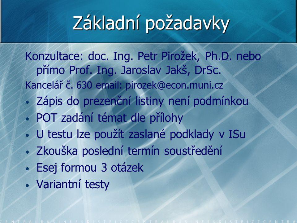 Základní požadavky Konzultace: doc. Ing. Petr Pirožek, Ph.D. nebo přímo Prof. Ing. Jaroslav Jakš, DrSc. Kancelář č. 630 email: pirozek@econ.muni.cz Zá