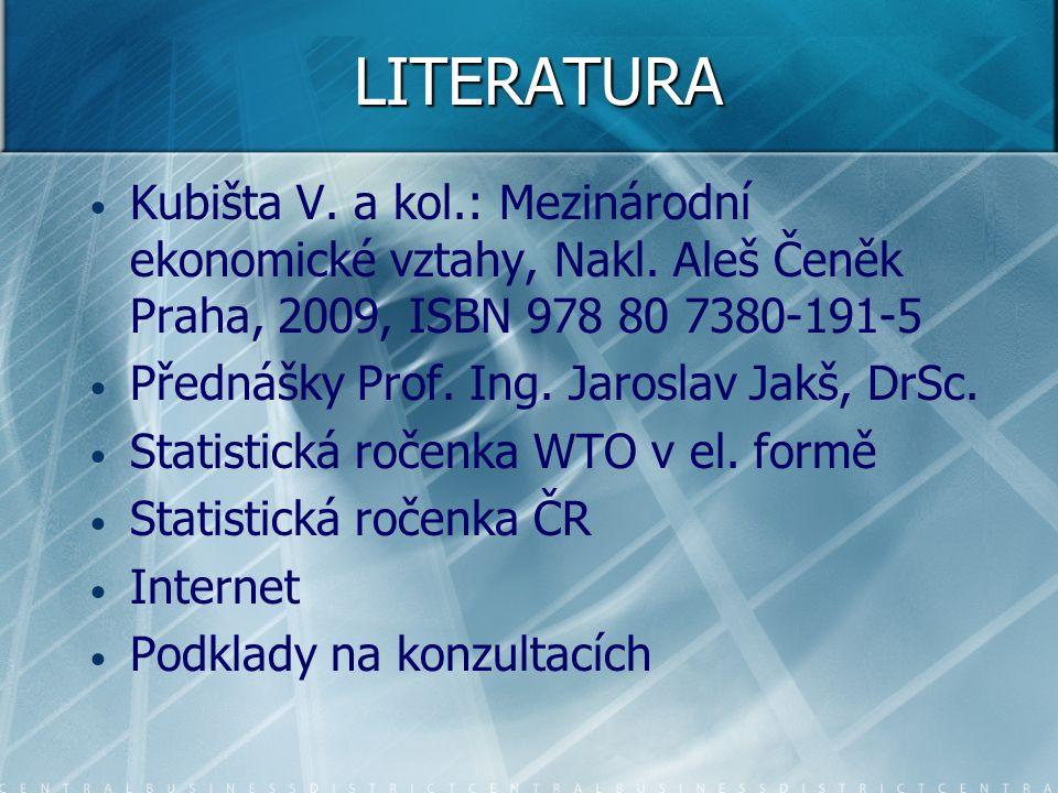 LITERATURA Kubišta V. a kol.: Mezinárodní ekonomické vztahy, Nakl. Aleš Čeněk Praha, 2009, ISBN 978 80 7380-191-5 Přednášky Prof. Ing. Jaroslav Jakš,