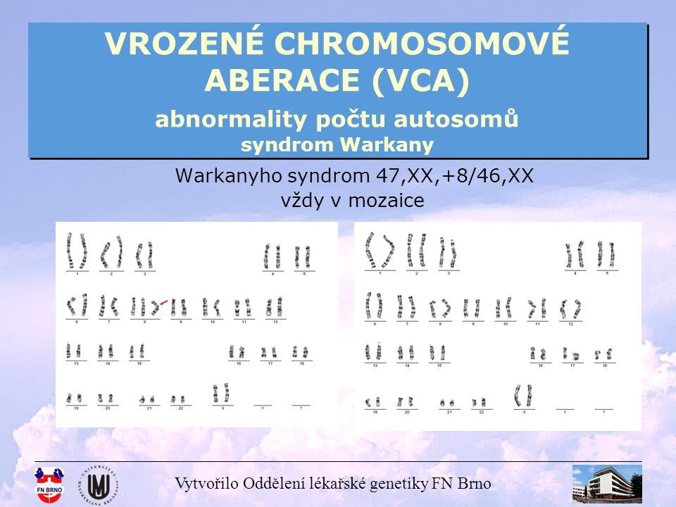 Vytvořilo Oddělení lékařské genetiky FN Brno VROZENÉ CHROMOSOMOVÉ ABERACE (VCA) abnormality počtu autosomů syndrom Warkany Warkanyho syndrom 47,XX,+8/