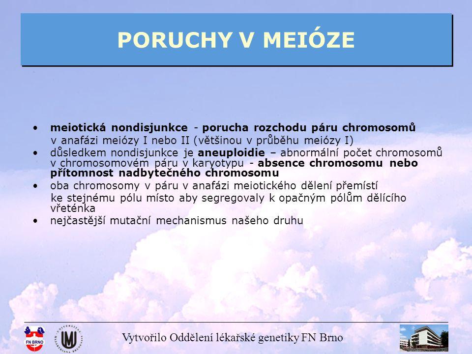 Vytvořilo Oddělení lékařské genetiky FN Brno PORUCHY V MEIÓZE meiotická nondisjunkce - porucha rozchodu páru chromosomů v anafázi meiózy I nebo II (vě