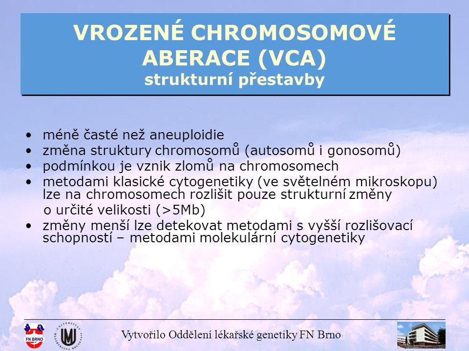 Vytvořilo Oddělení lékařské genetiky FN Brno VROZENÉ CHROMOSOMOVÉ ABERACE (VCA) strukturní přestavby translokace translokace – nejčastější ze strukturních aberací, předpokladem je vznik dvou zlomů, každý na jednom chromosomu reciproké translokace – výměny chromosomových segmentů mezi dvěma, zpravidla nehomologními, chromosomy robertsonovské translokace – 2 akrocentrické chromosomy fúzují v oblasti centromery a ztrácejí svá krátká raménka (ztráta nemá vliv na fenotyp), vznik zlomů v oblasti centromery reciproké translokace se vyskytují s frekvencí přibližně 1:600 novorozenců