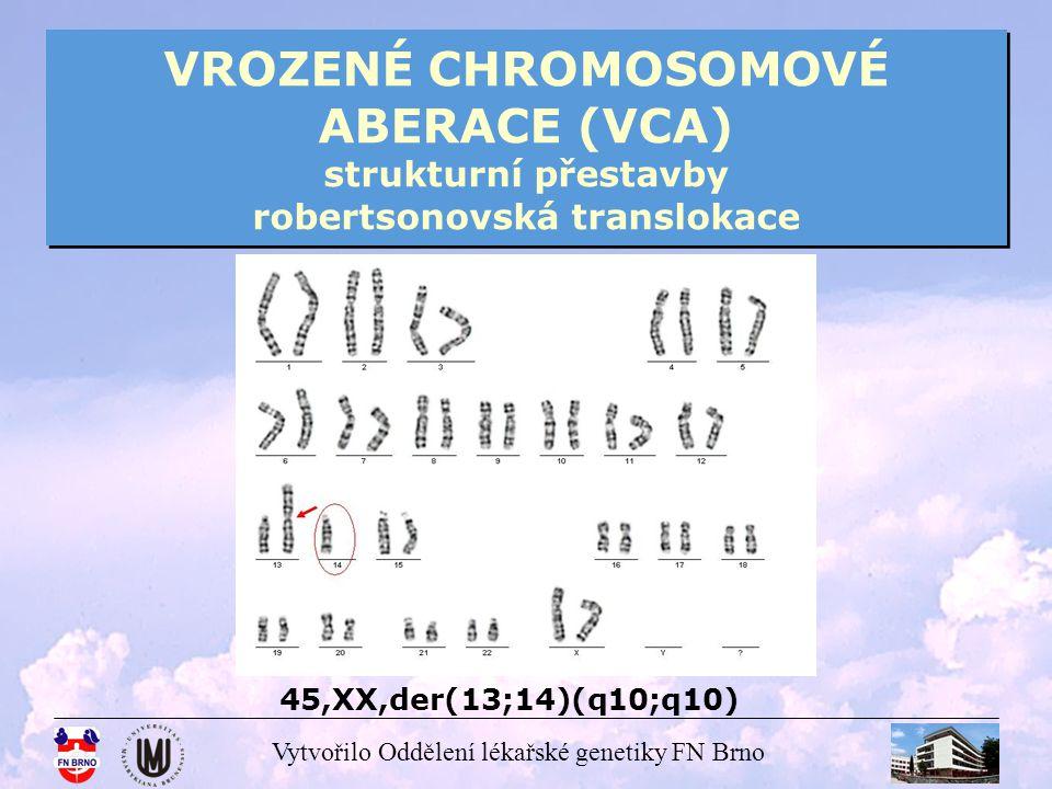 Vytvořilo Oddělení lékařské genetiky FN Brno VROZENÉ CHROMOSOMOVÉ ABERACE (VCA) strukturní přestavby robertsonovská translokace 45,XX,der(13;14)(q10;q