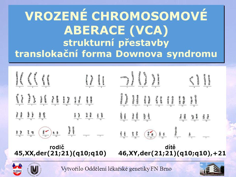 Vytvořilo Oddělení lékařské genetiky FN Brno VROZENÉ CHROMOSOMOVÉ ABERACE (VCA) strukturní přestavby translokační forma Downova syndromu 45,XX,der(14;21)(q10;q10) 46,XY,der(14;21)(q10;q10),+21 rodičdítě