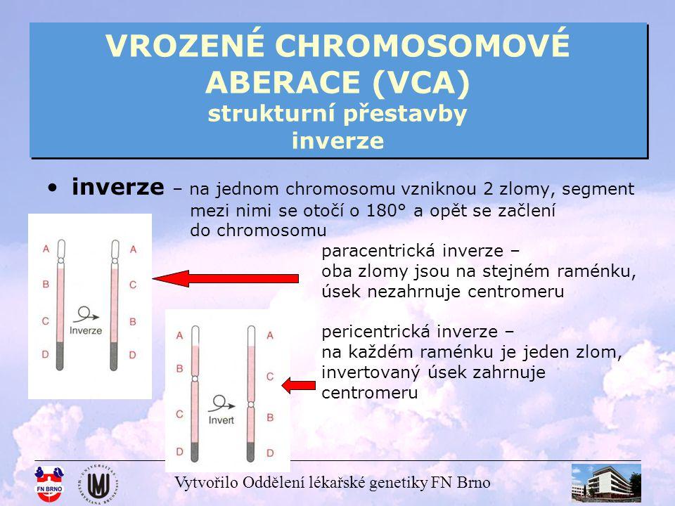 Vytvořilo Oddělení lékařské genetiky FN Brno VROZENÉ CHROMOSOMOVÉ ABERACE (VCA) strukturní přestavby inverze inverze – na jednom chromosomu vzniknou 2