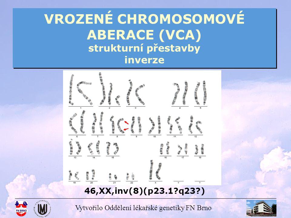 Vytvořilo Oddělení lékařské genetiky FN Brno VROZENÉ CHROMOSOMOVÉ ABERACE (VCA) strukturní přestavby inverze 46,XX,inv(8)(p23.1?q23?)