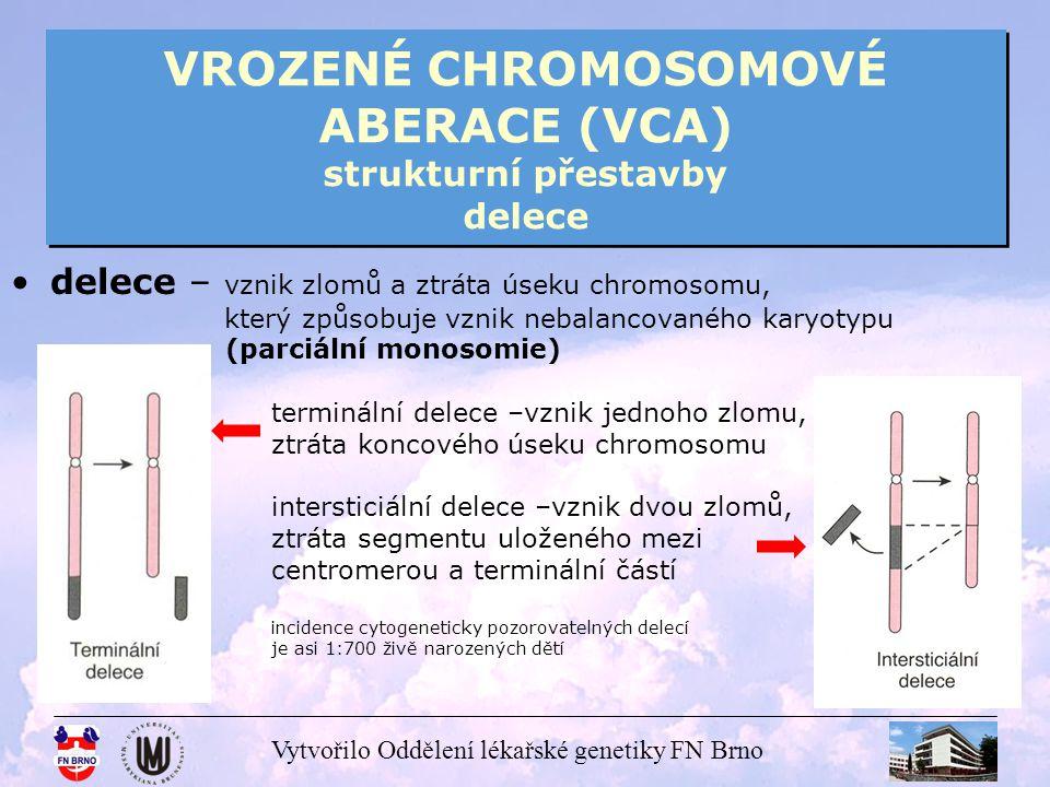 Vytvořilo Oddělení lékařské genetiky FN Brno VROZENÉ CHROMOSOMOVÉ ABERACE (VCA) strukturní přestavby delece terminální delece del (5p) syndrom Cri du chat (syndrom kočičího křiku)