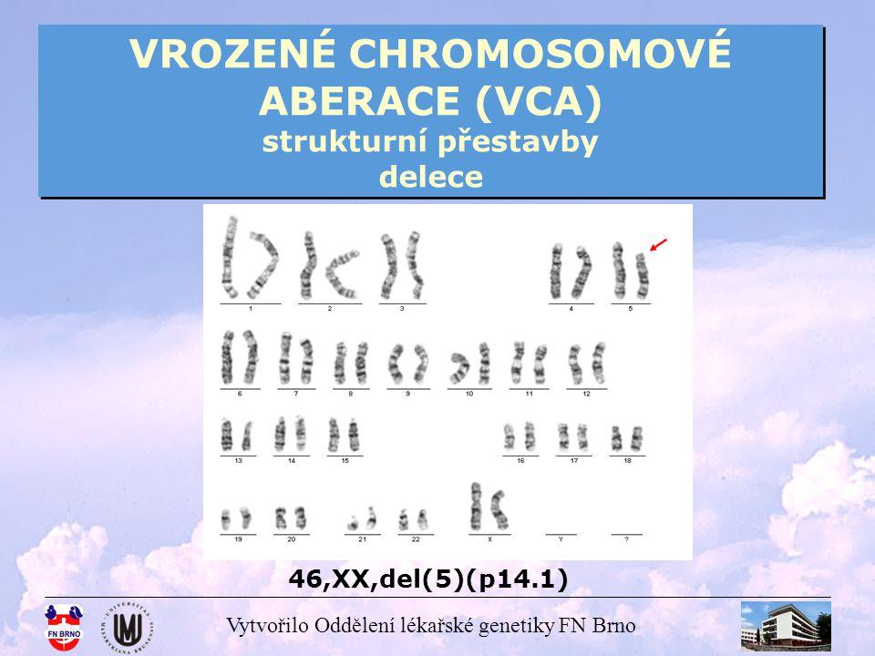 Vytvořilo Oddělení lékařské genetiky FN Brno VROZENÉ CHROMOSOMOVÉ ABERACE (VCA) strukturní přestavby delece Další důležité deleční syndromy: - Wolf – Hirschhornův syndrom – 46,XX,del(4p) / 46,XY,del(4p) delece části 4p -De Grouchy syndrom – 46,XX,del(18p) / 46,XY,del(18p) delece části 18p nebo celého 18p (nebo i části 18q) některé delece nemusí souviset s fenotypem, který je zařazen do kategorie syndrom (málo častý výskyt)